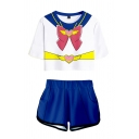 Chic Ladies Cosplay Costume 3D Color Block Faux Bow Front Short Sleeve Round Neck Regular Fit Crop T-Shirt & Elastic Waist Pockets Shorts Set