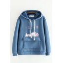 Girls Lovely Sherpa Lined Japanese Letter Cat Graphic Flap Pocket Long Sleeve Drawstring Loose Hoodie