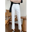 Formal Solid Color High Rise Ankle Length Fitted Pants for Women