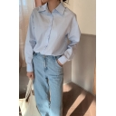 Simple Girls Solid Color Long Sleeve Spread Collar Button Up Relaxed Fit Shirt Top