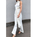 Women's Trendy Jumpsuits Solid Color Zipper Button Detail Full Length Sleeveless High Neck Tie Flared Jumpsuits