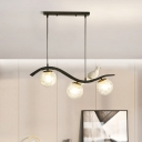 Black Orb Island Lighting Ideas Simplicity 3 Lights Clear/White Glass Ceiling Lamp with Bird on Wavy Beam