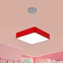 Acrylic Square Chandelier Pendant Light Modernism LED Suspended Lighting Fixture in Yellow/Blue/Red