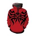 Fashion Geometric Print Long Sleeve Drawstring Loose Fit Hoodie in Red