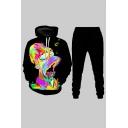 Street Cartoon Character Print Long Sleeve Drawstring Kangaroo Pocket Loose Hoodie & Pants Set in Black
