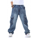 Men's Cool Plain Zipper Fly Multi Pockets Wide Leg Denim Pants Baggy Jeans