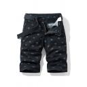 Fashion Shorts Patterned Zip-fly Button Detail Pockets Knee Length Straight Fit Chino Shorts for Men