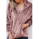 Women's Fashion Warm Fluffy Teddy Stand-Collar Half-Zip Long Sleeve Plain Sweatshirt