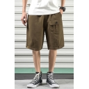 Leisure Guys Solid Color Flap Pocket Mid Waist Knee Length Straight Cargo Shorts