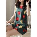 Pop Ladies All Over Fruit Print Crew Neck Sleeveless Loose Tank Top & Pocket Shorts Pajama Set in Green