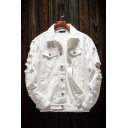 Trendy Men's Jacket Solid Color Frayed Long Sleeves Button Closure Pocket Spread Collar Fitted Denim Jacket in White