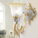 White Glass Gold Sconce Lighting Scalloped 1 Head Rural Wall Light Fixture for Bedroom
