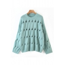 Girls Plain Fashion Hollow Out Knit Long Sleeve Crew Neck Loose Fit Pullover Sweater Top