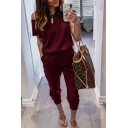 Casual Fashion Womens Short Sleeve Drop Shoulder Solid Color Ankle Relaxed Fit Jumpsuit