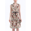 Apricot Stylish All over Floral Print Belted Button Front Lapel Collar Sleeveless Midi A-Line Dress for Women