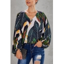 Trendy Womens All over Printed V Neck Bishop Long Sleeve Loose Fit Shirt