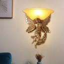 Milky Glass Bowl Wall Mount Lamp Traditional 1 Light Living Room Wall Lighting in White/Gold with Right/Left Resin Angel