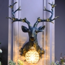1 Light Resin Wall Mount Light Country White/Blue Sika Deer Head Living Room Wall Sconce Lighting with Ball Crystal Shade