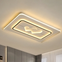 Round/Rectangle/Square Flushmount Nordic Acrylic LED White Ceiling Flush with Loving Heart Design in Warm/White Light