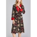 Retro Womens Tassel Flower Print Contrast Trim Bow Tie Waist Shawl Collar Long Sleeve Silk Midi A-Line Wrap Nightgown in Black