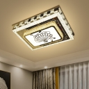 Faceted Crystal Rectangle Ceiling Light Modernism LED Chrome Flush Mount with Fan Pattern
