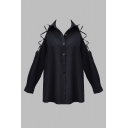 Unique Womens Shirt Plain Cold Shoulder Button up Turn-down Collar Long Sleeve Regular Fit Shirt in Black