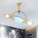 Planet Semi Flush Light Fixture Kids Style Frosted Glass 3 Bulbs White/Beige/Blue Ceiling Lighting