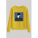 Fashionable Figure Printed Crew Neck Long Sleeve Regular Fitted Pullover Sweatshirt