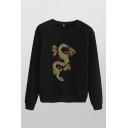 Retro Dragon Printed Rhinestone Embellished Crew Neck Long Sleeve Regular Fit Pullover Sweatshirt