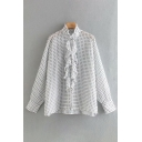 Ditsy Flower Printed Long Sleeve Stand Collar Stringy Selvedge Button Up Relaxed Fit Chic Shirt Top in White