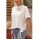 Simple Girls Ripped Short Sleeve Crew Neck Straps Asymmetric Hem Loose Fit T Shirt in White