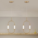 Minimalism Oval Ring Down Lighting Metallic LED Bedroom Pendant Chandelier in Gold