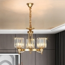 Drum Shade Beveled Crystal Chandelier Contemporary 3/6-Light Gold Finish Pendant Ceiling Light