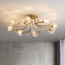 Modernity Diamond Semi Flush Clear Crystal 8 Lights Corridor Ceiling Mounted Fixture in Gold with Spiral Design