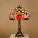 Dome Shade Stained Glass Night Light Tiffany 1 Head Brass Finish Flower Patterned Nightstand Lamp for Living Room
