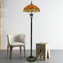 Dragonfly Standing Floor Lamp 3 Lights Yellow/Blue/Green Hand Cut Glass Tiffany Floor Lighting with Bowl Shade