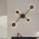 Metallic Round Wall Mounted Lamp Minimalism LED Wall Lighting Ideas in Black, Warm/White Light