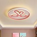 Pink Couple Swan Ultrathin Ceiling Flush Macaron Acrylic LED Flush Mount Light for Bedroom
