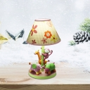 Cartoon Zoo Resin Table Light Single Nightstand Light in Pink with Flower Fabric Shade