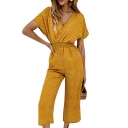 Classic Womens Jumpsuits Polka Dot Printed Elastic Waist Surplice Neck Regular Fitted Short Sleeve Jumpsuits