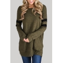 Stylish Striped Color Block Round Neck Long Sleeve Loose Fit Pullover Sweatshirt