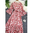 Womens Trendy Leaf Allover Print Bow Tie Waist Ruffle Hem V Neck Half Flared Cuff Sleeve Long A-line Dress