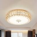 Round Flush Ceiling Light Fixture Modern Crystal Chrome/Gold LED Flushmount for Bedroom, 15