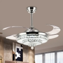 2-Tier Circle Crystal Fan Lighting Contemporary 4 Blades LED Chrome Semi Flush Light for Living Room, 19