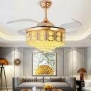 Crystal Orb Conic Fan Light Kit Minimalist 4-Blade LED Gold Semi Flush Ceiling Fixture, 19