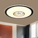 Hotel LED Flush Ceiling Light Simple Black Flushmount with Disc Acrylic Shade and Loving Heart Pattern