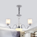 Clear and Milk Glass Dual Cylinder Chandelier Modernism 3 Bulbs Suspension Lighting in Chrome