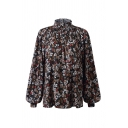 Fashion Womens Ditsy Floral Printing Pleated Mock Neck Long Puff Sleeve Loose Fitted Shirt