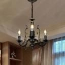 Industrial Candle Chandelier 3 Lights Metal Pendant Light in Black for Dining Room