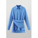 Unique Womens Plain Split Asymmetric Hem Button Detail Turn-down Collar Long Sleeve Fitted Tunic Shirt in Blue
